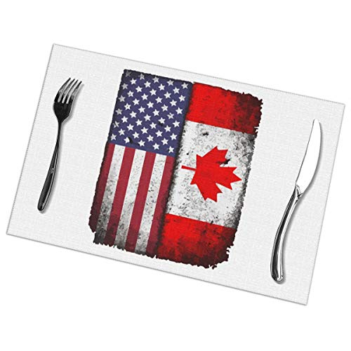 Canadian American Flag Print PVC Placemat Heat Insulation Non-Slip Wipeable Table Mats for Kitchen Dining Table Decoration Set of 6 -