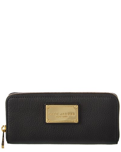 MARC JACOBS Black Leather Zip-Around Clutch Wallet