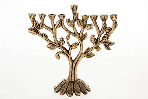 Legacy Judaica Golden Pomegranate Menorah for Chanukah - for Standard Hanukah Candles - Branch Menora Style - 9