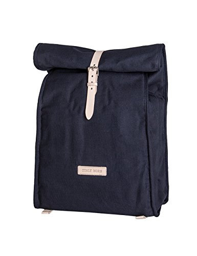 Italy Morn Canvas Backpack with Leather Belt for Men and Women - Multi-use Navy