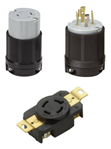 OCSParts L14-20PCR NEMA L14-20 Plug, Connector and Receptacle Set, Rated for 20 Amp, 125/250V, 4-Wire, 3 Pole - CUL Listed (Pack of 3)