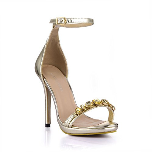 Dolphin Women's Rhinestone Open Toe 12CM High Heel Sandals with Ankle Strap SM00006 Golden t8qp2pju2f