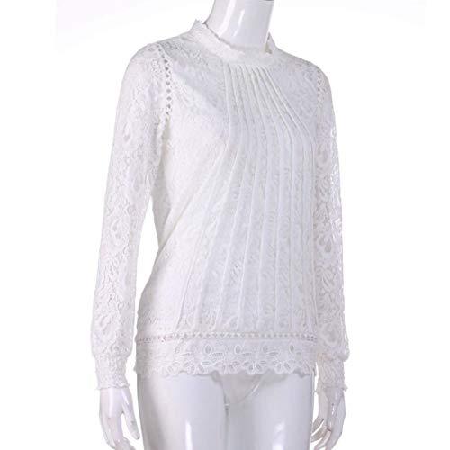 Tops Vintage Elgante Printemps Haut Col Dcontract Rond Automne Assez Fille Blanc Blouse Shirts Dentelle Classique Longues Femme Chemisier Manches Unicolore CwYpqBxB