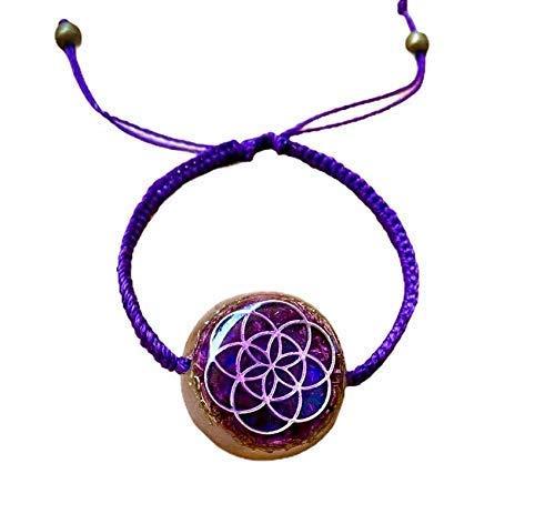 seed of life yoga violet color with amethyst handmade balance Arte Orgones meditation moonstone Orgonite Bracelets rose quartz wellness sacred geometry symbol for EMF protection