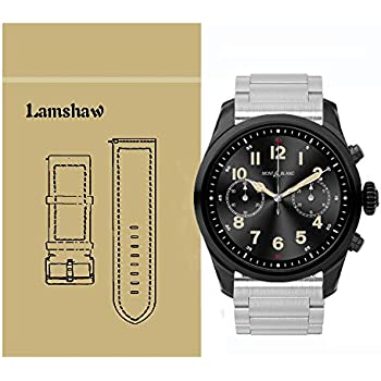 Lamshaw Quick Release Smartwatch Band for Montblanc Summit 2, Stainless Steel Metal Replacement Straps for Montblanc Summit 2 Smartwatch (Silver)