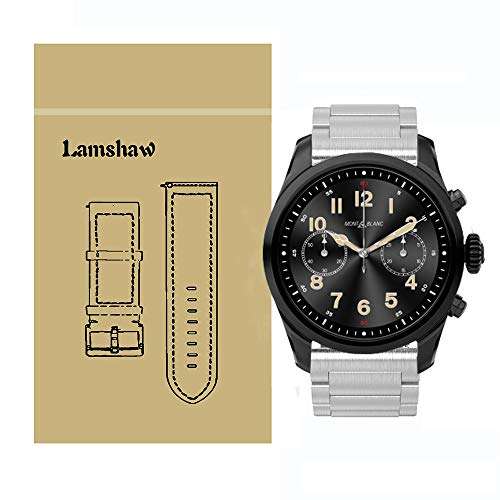 - Lamshaw Quick Release Smartwatch Band for Montblanc Summit 2, Stainless Steel Metal Replacement Straps for Montblanc Summit 2 Smartwatch (Silver)