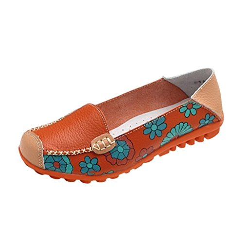 Maybest Women Bright Color Casual Flower Printed Slip On Leather Flat Pumps Moccasins Dancing Shoes Orange