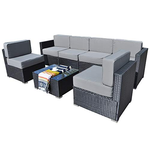 Mcombo Patio Furniture Sectional Set Outdoor Wicker Sofa Lawn Rattan Conversation Chair with 6 Inch Cushions and Tea Table(Grey) 6082-7PC (Sectional Support Sofa)