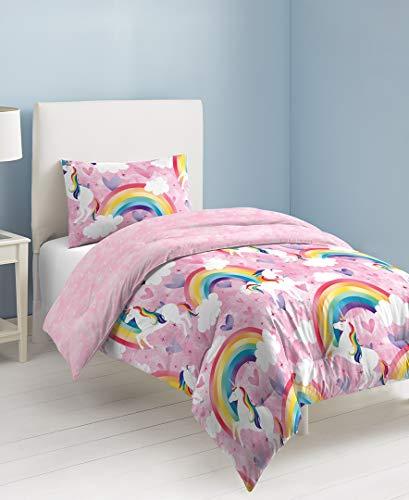 (Dream Factory Unicorn Rainbow Comforter Set, Twin, Pink)