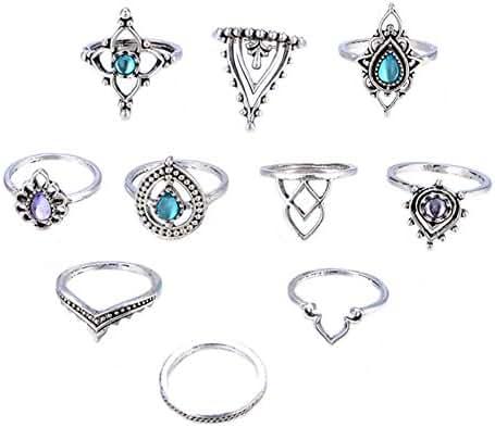 RoseSummer Beach Jewelry Bohemian Vintage Ring Set