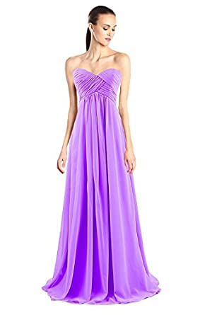 Tngan Sweetheart Bridesmaid Chiffon Prom Dresses Long Evening Gowns Purple