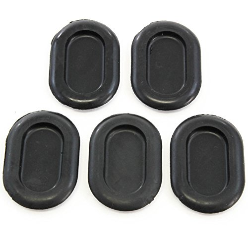 Red Hound Auto 5 Floor Drain Plugs Compatible with Jeep Wrangler TJ 1999-2006 - 2 Inches x1-3/8 Hole - Rubber Cover Oval