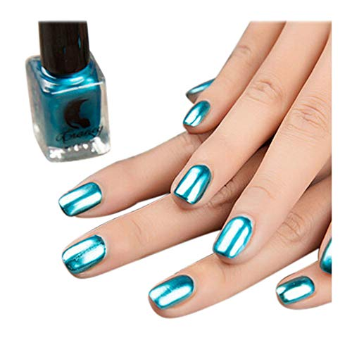 Fan-Ling Mirror Nail Polish, Plating Silver Paste Metal Color Stainless Steel Mirror Silver Nail Polish, 6ml Nail Art Gel Polish,Suitable For Professional Or Home Use (Blue)