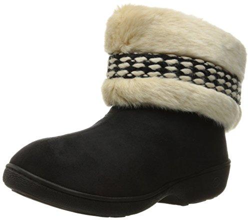 Isotoner Women's Erica Microsuede Boot Slippers, Black, Medium/7.5-8 M US