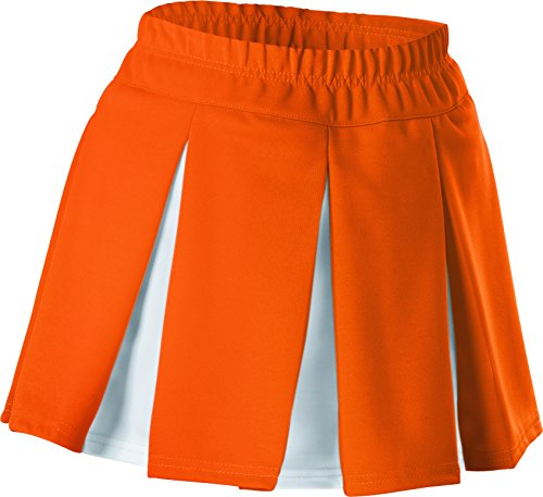 Alleson Girls Cheerleading Multi Pleat Skirt, Orange/White, XX-Small Pleat Cheer Skirt