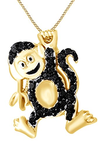 AFFY Round Cut Black Natural Diamond Monkey Pendant Necklace in 14K Yellow Gold Over Sterling Silver ()