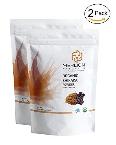 Shikakai Powder - Organic Shikakai Powder by MERLION NATURALS | Acacia Concinna | USDA NOP Certified 100% Organic | Vegan | Excellent Hair Conditioner (16 OZ)