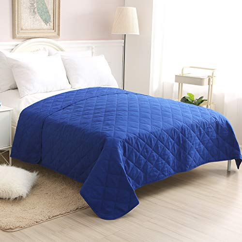 CottonTex Super Soft Bedspread Blue,Full/Queen Size 86x86 Inches Diamond Pattern Lightweight Hypoallergenic Microfiber Bed Coverlet Quilt