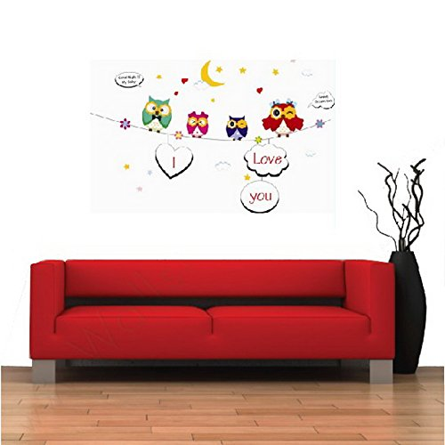 NOYT Wall Sticker Paper Mural Art Decal Home Room Decor Office Wall Mural Wallpaper Art Sticker Decal for Home Bedroom Five Generation Of Environmentally Friendly Cute Cartoon Owl Children's Room