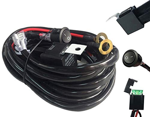 AutoSonic LED Wiring Harness Heavy Duty gauge wire kit for LED Light Bar Work Light, 12V 40A Relay, Fuse and On-off switch button included