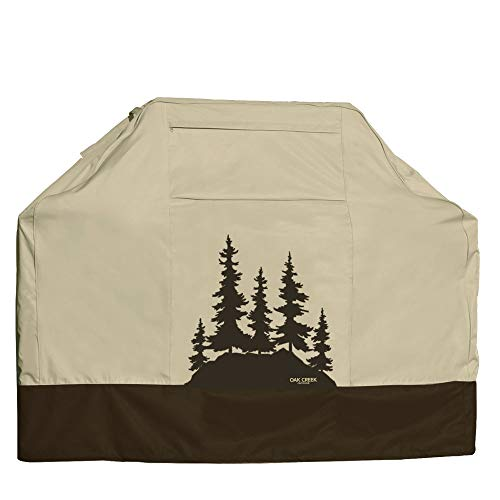 Oak Creek Designer Series BBQ Grill Cover, Heavy Duty Waterproof 600D Fabric, 64 Inch with Air Vents and Click Close Straps. Lonely Oak Print Design on Cream and Brown.