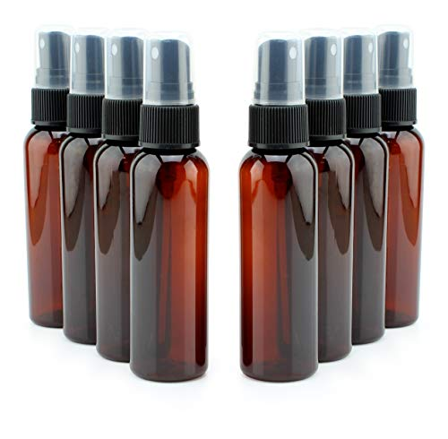 - 2-Ounce Amber Plastic Fine Mist Atomizer Bottles (8-Pack); Small Travel Size Spray Containers, Brown