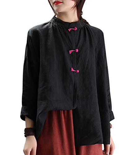Women Casual Blouse Tops Button Down Shirts Chinese Traditional Frogs Curved Hemline EG6 (L, EG6 Black)
