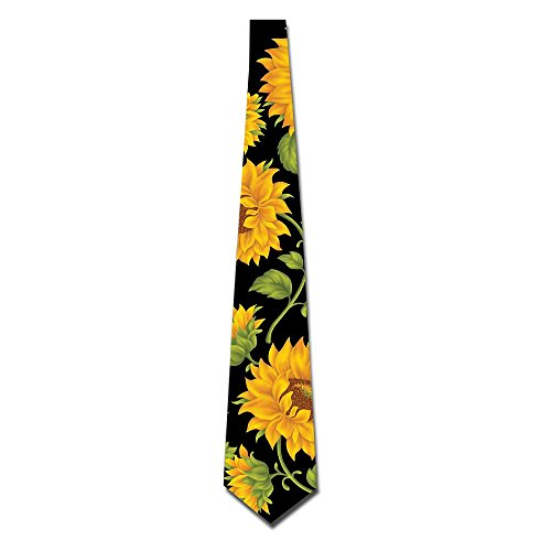Men's Unique Neckties Yellow Sunflowers Seamless Art Neckwear For Wedding, Party, Office, Holiday
