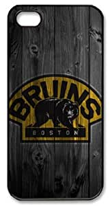 Icasepersonalized Personalized Protective Case for iPhone 5 - NHL Boston Bruins in Wood Background