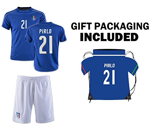 Fan Kitbag Pirlo #21 Italy Youth Home/Away Soccer Jersey & Shorts Kids Premium Gift Kitbag ✮ BONUS Pirlo #21 Drawstring Backpack (Youth Large 10-13 years, Jersey + Jerze Bag)