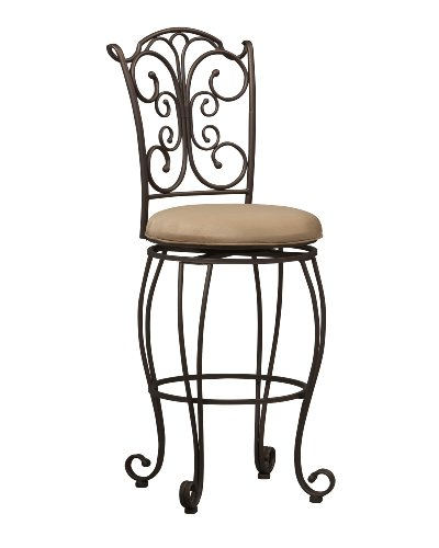 Linon Gathered Back Swivel Bar Stool 30""