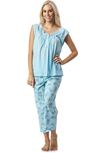 Casual Nights Women's Lace Sleeveless Top and Capri Bottom Sleepwear Pajama Set - Blue - X-Large