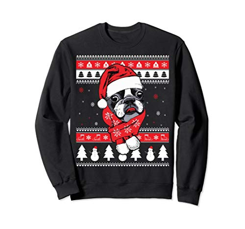 Funny Boston Terrier Ugly Christmas Sweatshirt