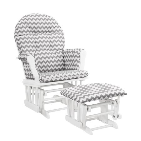 Angel Line Windsor Glider and Ottoman White Finish and Gray Chevron Cushions + Handi Wipes ()