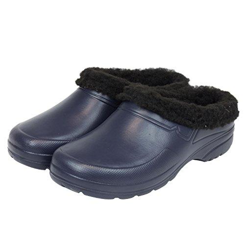Sabot zoccoli ciabatte in materiale EVA con fodera in finto montone per donna uomo, taglia 38, colore: blu