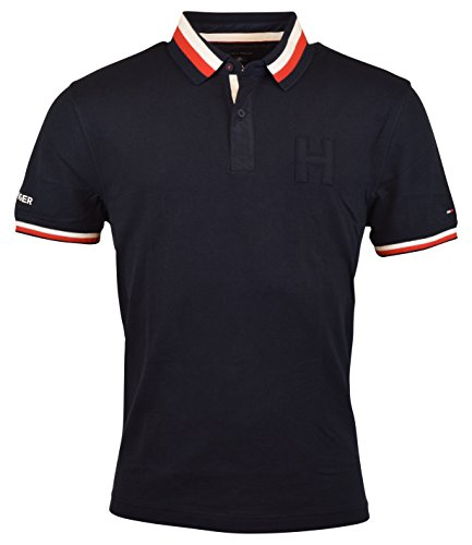 Pieced Rugby Shirt (Tommy Hilfiger Men's Stretch Cotton Pieced Polo Shirt - XL - Navy H)