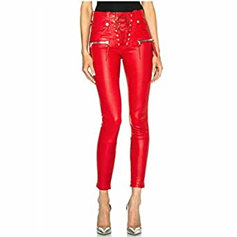 Leat Slim Tied Ankle Pants Spring and Autumn Fashion Punk PU Leather Pants Pencil Pants Black XS