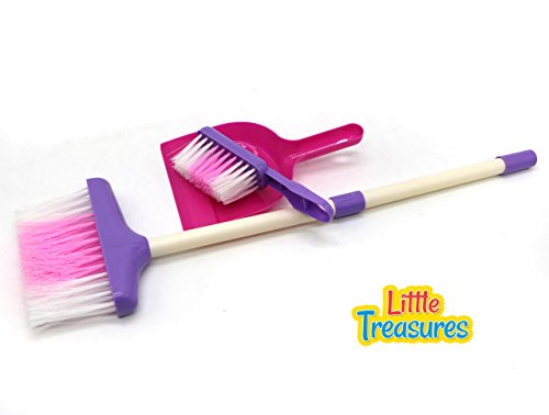 Little Treasures Cleaning Play Set, Complete with Broom, Hand-Broom and Dustpan Play Set for Children Over 3 and (Baby Broom)