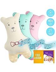 """MyDreamys Teddybär """"Ted"""" - Hochwertiges Kuscheltier mit Cry Sensor, spielt 5 Melodien und 5 White Noise Geräusche als Einschlafhilfe für Babys und Kinder - Perfektes Geschenk (Rosa)"""