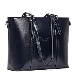 BROMEN Women Briefcase 15.6 inch Laptop Tote Bag Vintage Leather Handbags Shoulder Work Purses Oil Wax Navy