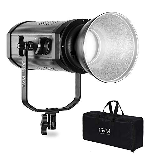 GVM COB 150W 5600K Studio Fresnel LED Video Spotlight Focusable LED Video Continuous Lighting with Remote Control for Video Studio Camera Photography Shooting Lighting,CRI97+/TLCI97+ (Fresnel Spotlight)