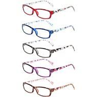 11afbc015f0430 Kerecsen 5 Pairs Fashion Ladies Reading Glasses Spring Hinge Pattern Design  Readers