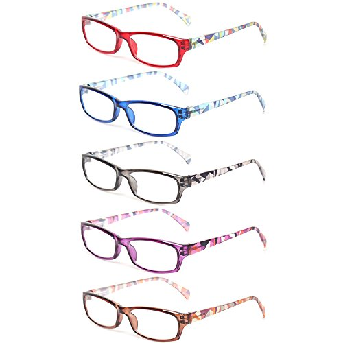 Reading Glasses 5 Pairs Fashion Ladies Readers Spring Hinge with Pattern Print Eyeglasses for Women (5 Pack Mix Color, 1.5) ()
