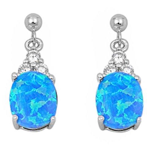 Dangling Oval Lab Created Blue Opal & Cz .925 Sterling Silver Earring