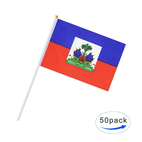 50 Pack Hand Held Haiti Flag Haitian Flag Stick Flag Round Top National Country Flags, Party Decorations Supplies For Parades,World Cup,Sports Events,International Festival (8.2