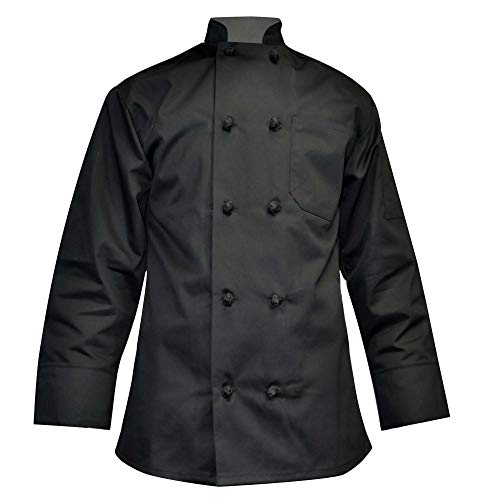 - Long Sleeve Chef Coat Knot Button Chef Coat-Easy-Care Twill (Large, Black)