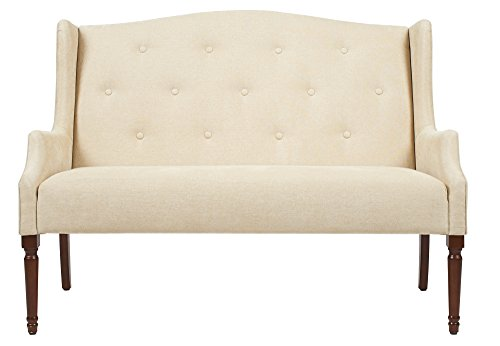 Cheap Jennifer Taylor Home Izzy Collection Modern Chic Stylish Hand Tufted Settee with Wooden Legs, Beige