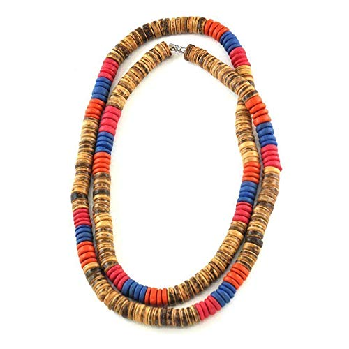 Forziani ISLAND LIFE Multi Wooden Disk Beads Necklace for Men - Luxury Gift Packaging Included - Awesome Gift for Him