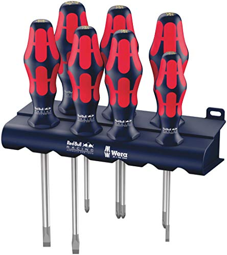 (Wera 05227700001 Red Bull Racing Screwdriver Set, Kraftform Plus Lasertip, Rack, 7-Piece)