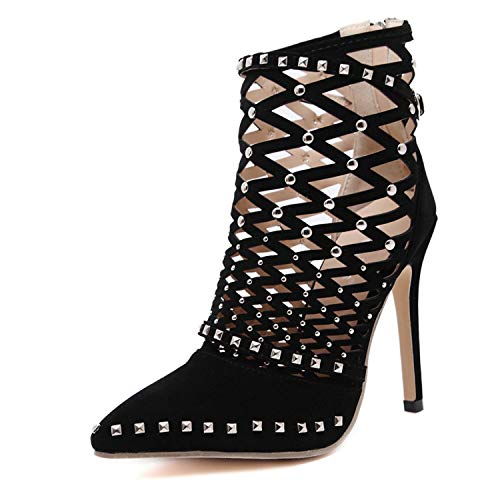 colorful-space Women Pumps high Heels Shoes Woman Gladiator Sandals Pointed Toe Flock Cut-Outs Rivets Party Wedding Dress Stiletto,Black,7
